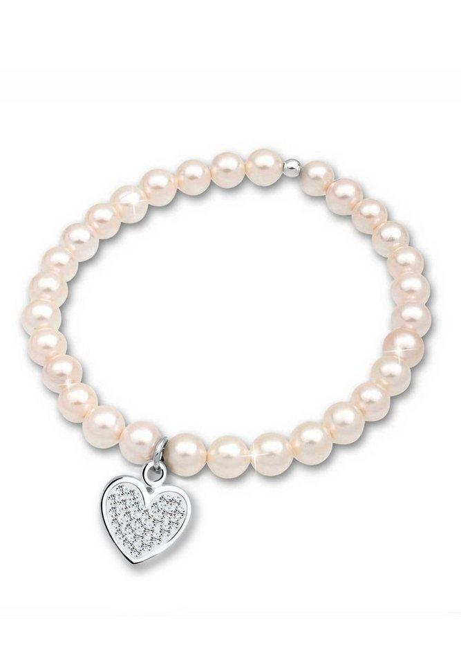 Elli Armband »Swarovski Kristalle Süßwasserzuchtperle 925 Silber« in Weiß