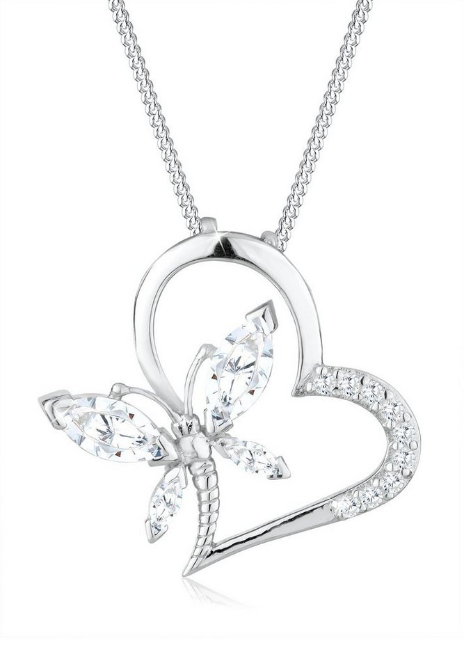 Elli Halskette »Herz Schmetterling Zirkonia 925 Sterling Silber« in Weiß