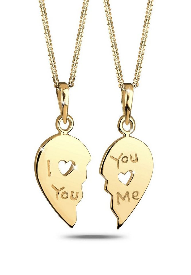 Goldhimmel Set: Halskette »Partnerkette Herz 925 Sterling Silber« 2 tlg. in Gold