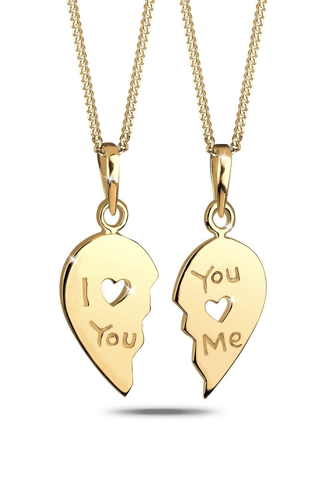 Goldhimmel Set: Halskette »Partnerkette Herz 925 Sterling Silber« 2 tlg.