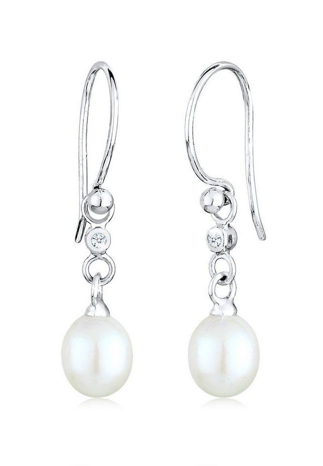 Diamore Ohrringe »Hänger Süßwasserzuchtperle Diamant 0.04 ct. Silber« in Silber
