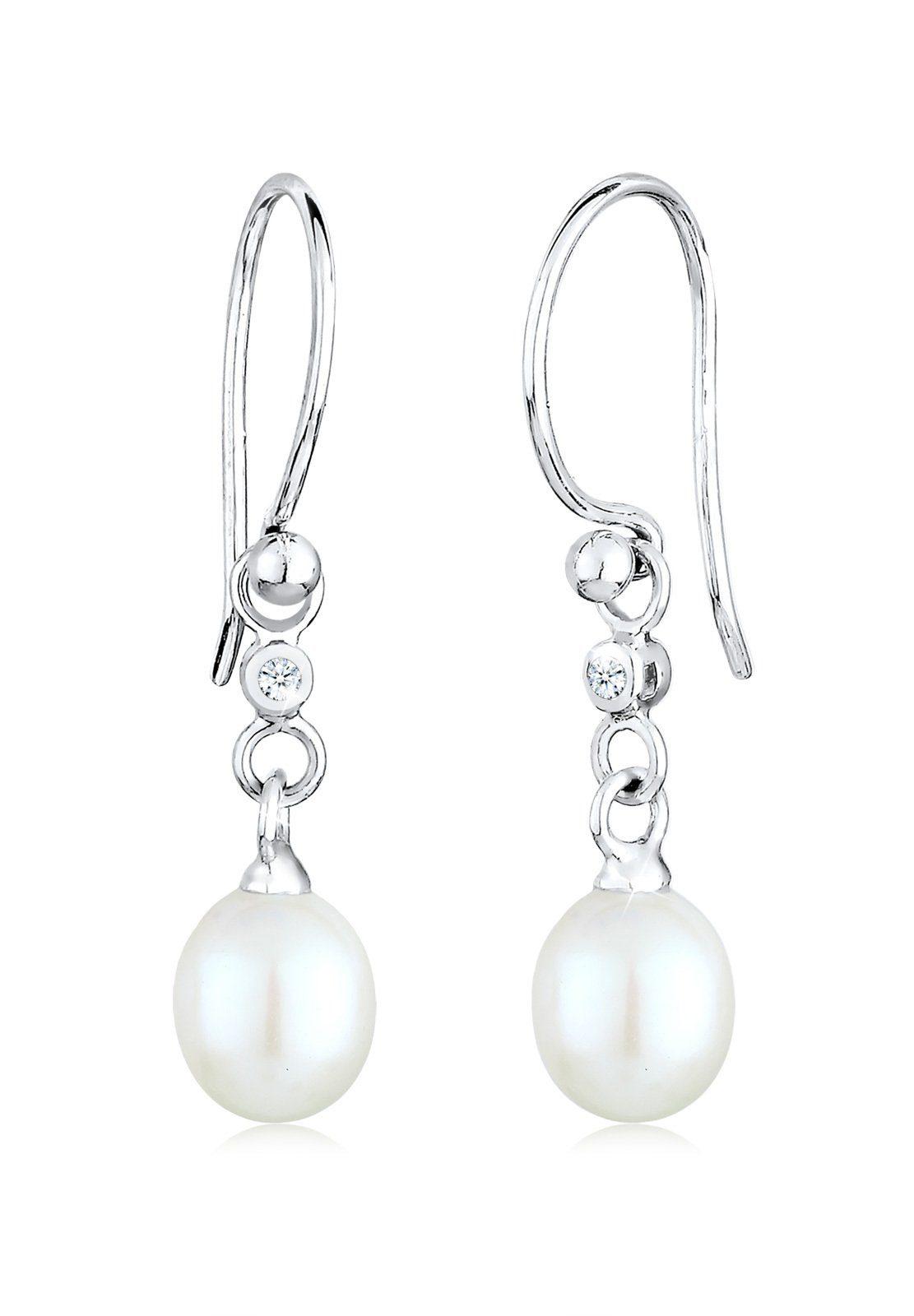 Diamore Ohrringe »Hänger Süßwasserzuchtperle Diamant 0.04 ct. Silber«