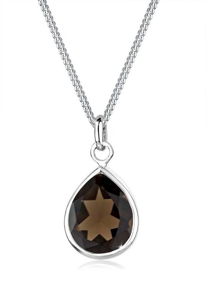 Elli Halskette »Tropfen Rauchquarz 925 Sterling Silber« in Braun