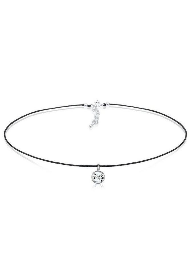 Elli Halskette »Choker Swarovski® Kristalle 925 Sterling Silber« in Schwarz