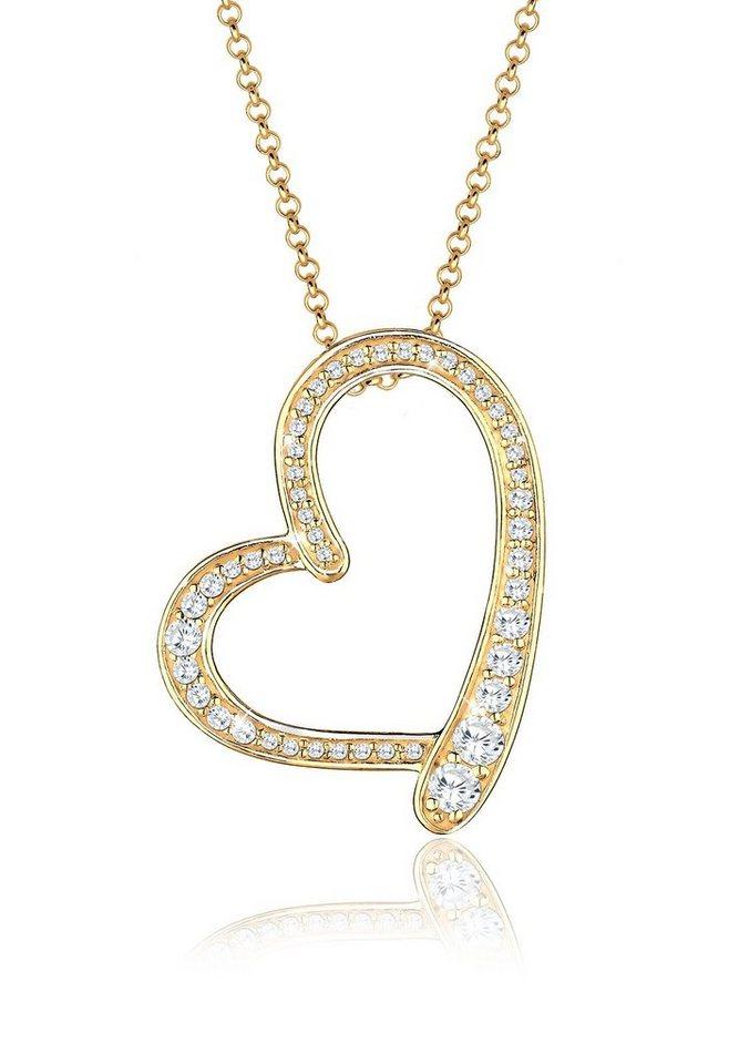 Goldhimmel Halskette »Herz Zirkonia 925 Silber vergoldet« in Weiß