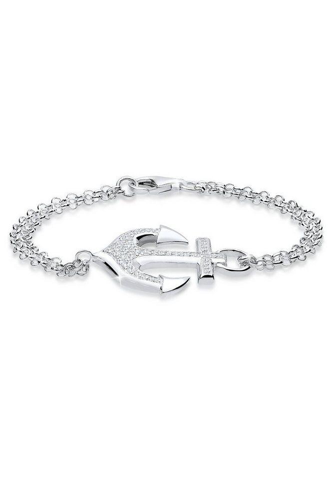 Elli Armband »Anker Zirkonia 925 Sterling Silber« in Weiß