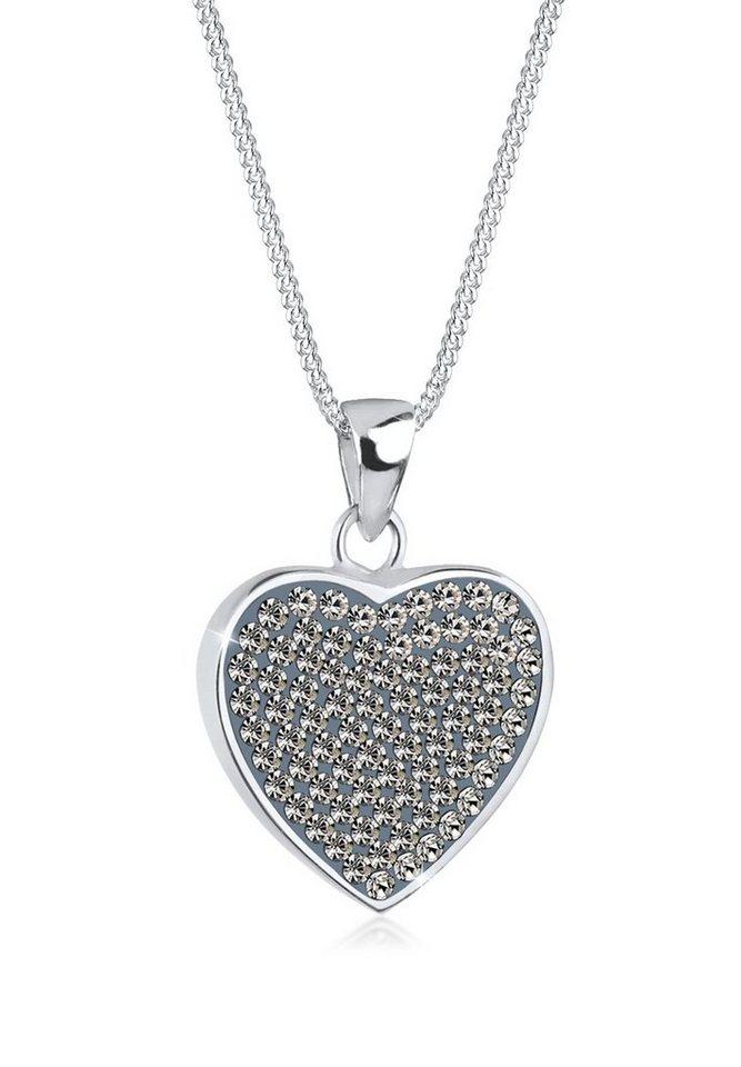 Elli Halskette »Herz Swarovski® Kristalle 925 Sterling Silber« in Grau