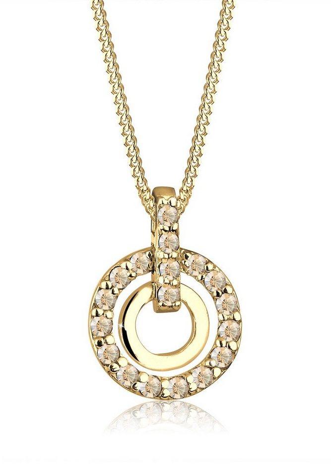 Goldhimmel Halskette »Kreis Swarovski Kristalle 925 Silber vergoldet« in Gold