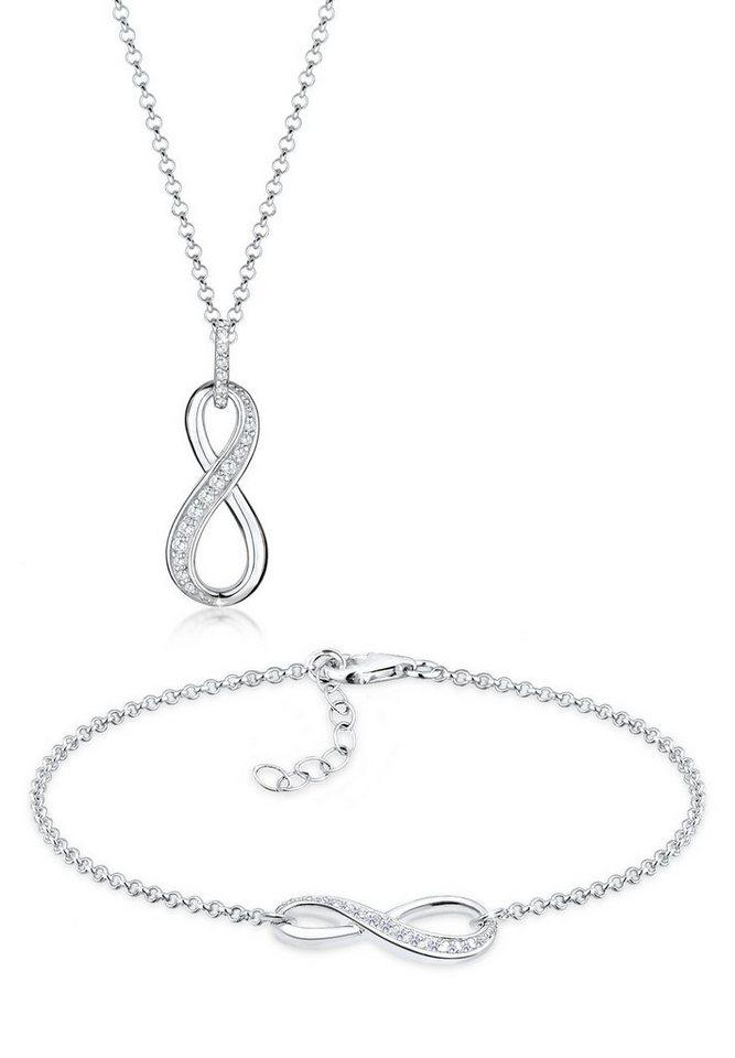 Elli Set: Schmuckset »Infinity Zirkonia 925 Sterling Silber« 2 tlg. in Weiß