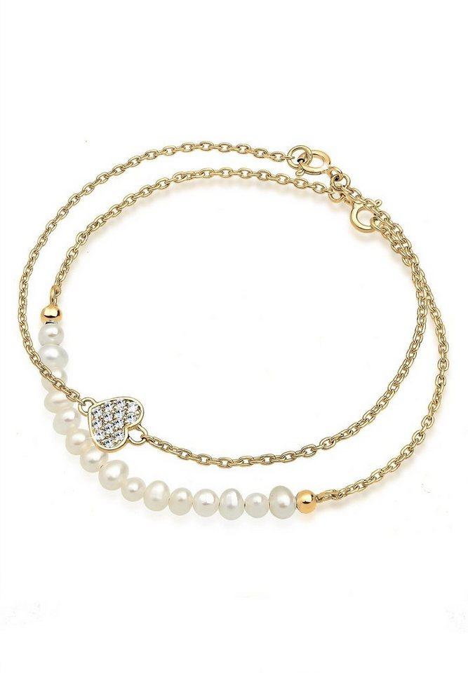 Goldhimmel Set: Armband »925 Sterling Silber Herz Swarovski Kristalle« 2 tlg. in Weiß