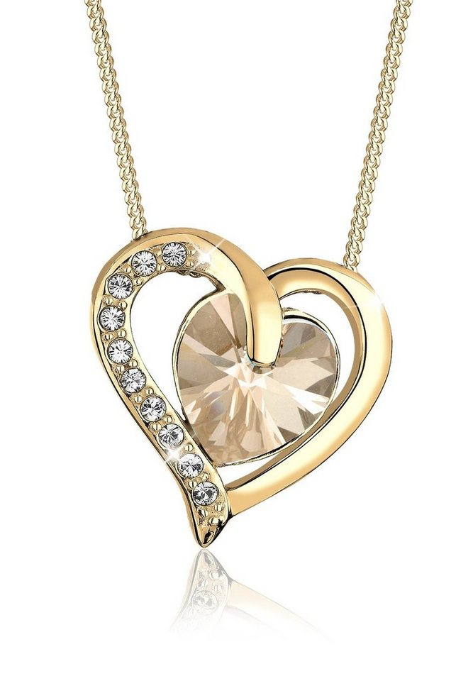 Goldhimmel Halskette »Herz Swarovski Kristalle 925 Sterling Silber« in Gold