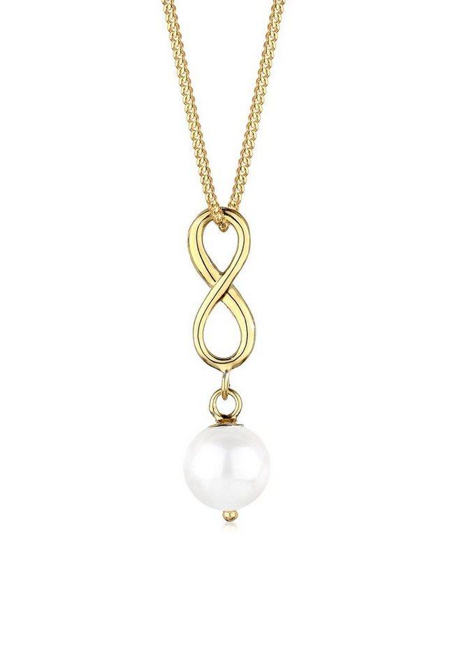Goldhimmel Halskette »Infinity Süßwasserperle 925 Sterling Silber« in Weiß