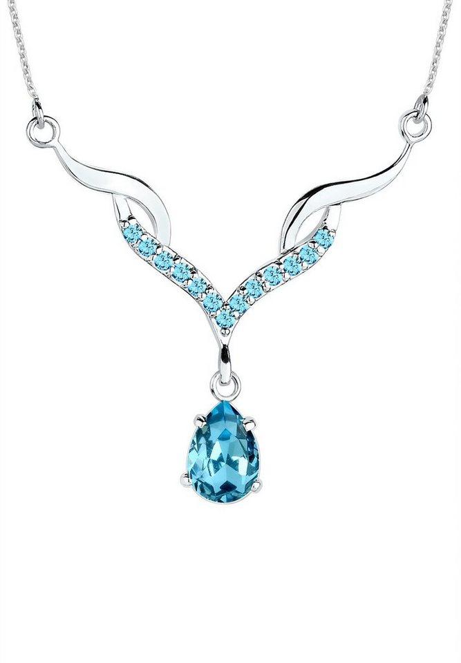 Elli Halskette »Opulenz Swarovski® Kristalle 925 Sterling Silber« in Hellblau