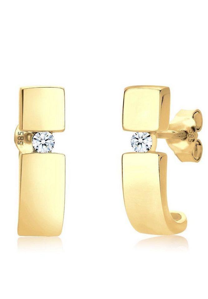 Diamore Ohrringe »Diamant Creole 585 Gelbgold« in Weiß