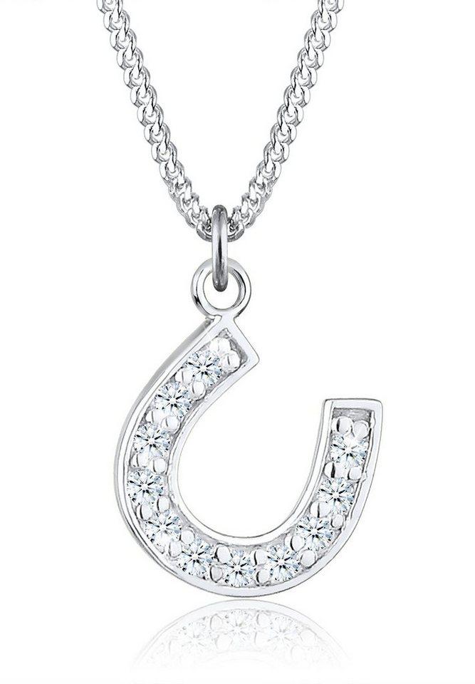 Diamore Halskette »925 Sterling Silber Hufeisen Diamant« in Weiß