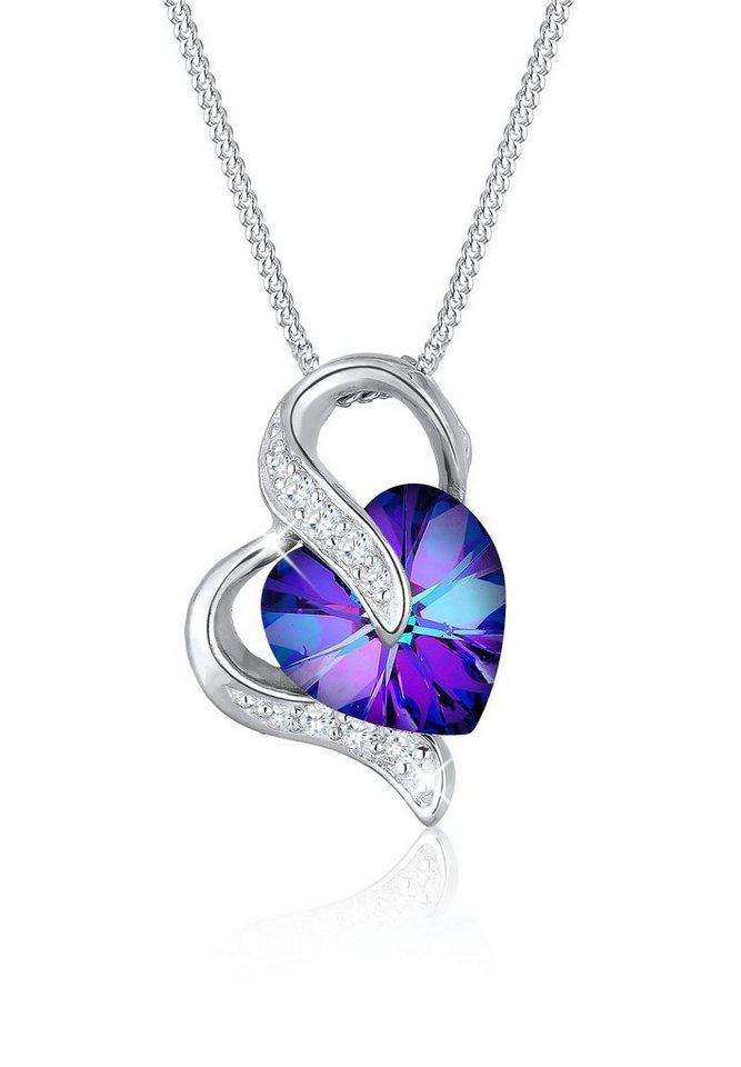 Elli Halskette »Herzchen Swarovski® Zirkonia 925 Sterling Silber« in Violett