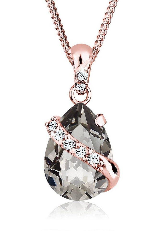 Elli Halskette »Tropen Swarovski® Kristalle 925 Sterling Silber« in Grau