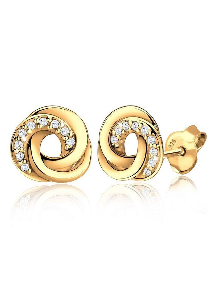 Goldhimmel Ohrringe »Spirale Zirkonia 925 Sterling Silber vergoldet« in Weiß
