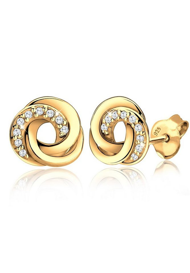 Goldhimmel Ohrringe »Spirale Zirkonia Elegant 925 Silber vergoldet« in Weiß
