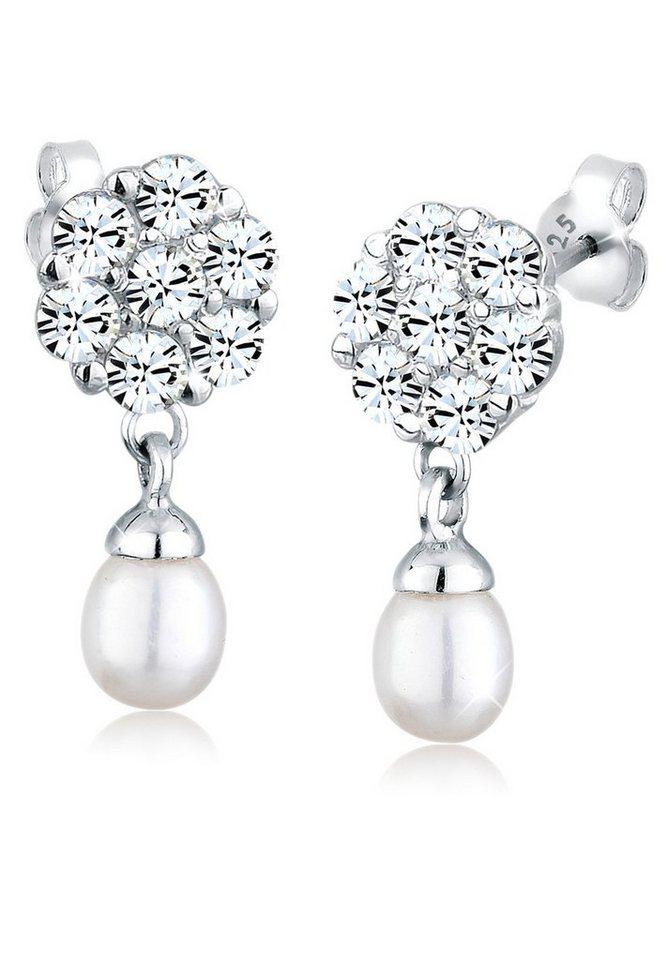 Perlu Ohrringe »Blume Swarovski® Kristalle 925 Silber« in Weiß