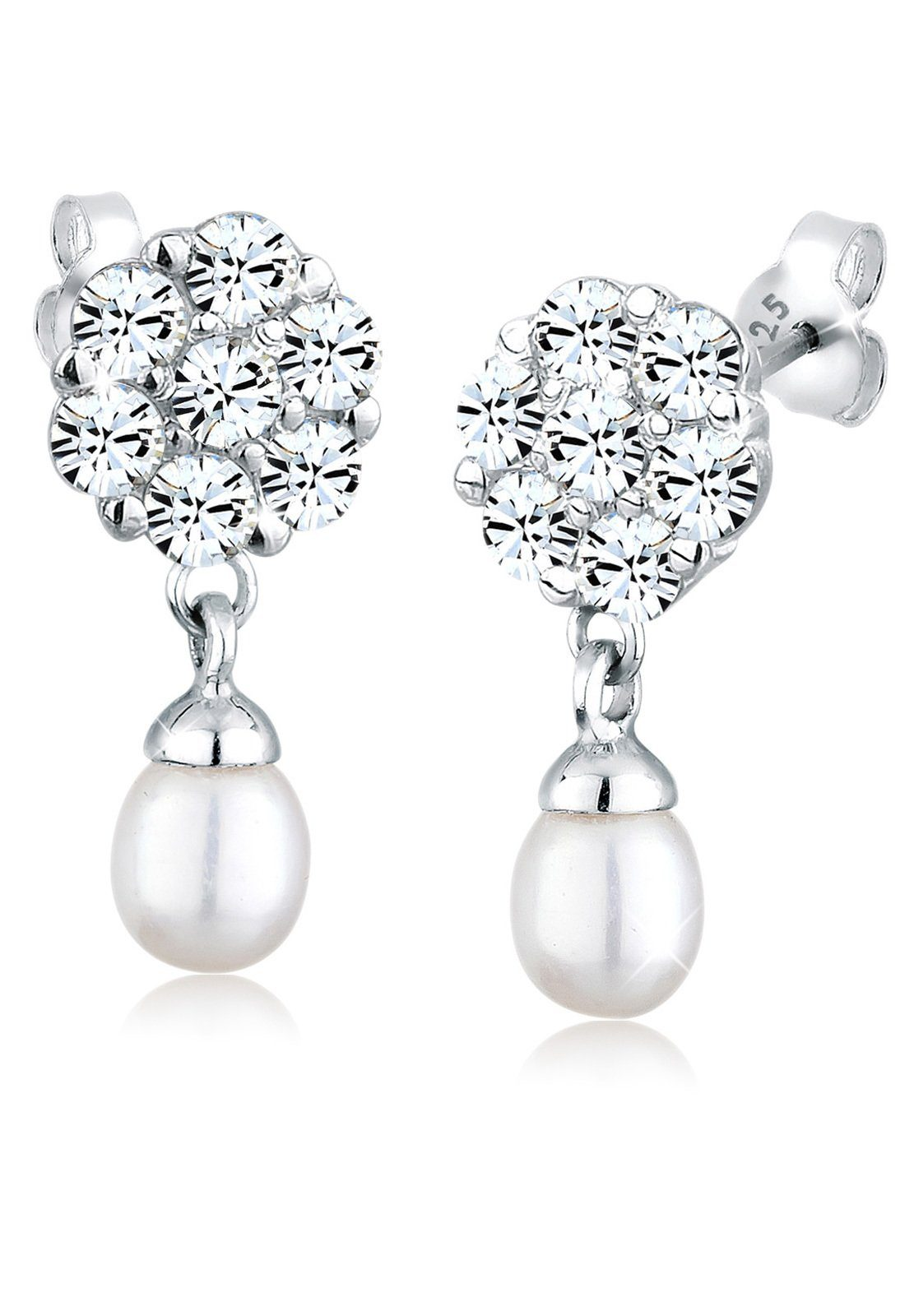 Perlu Ohrringe »Blume Swarovski® Kristalle 925 Silber«