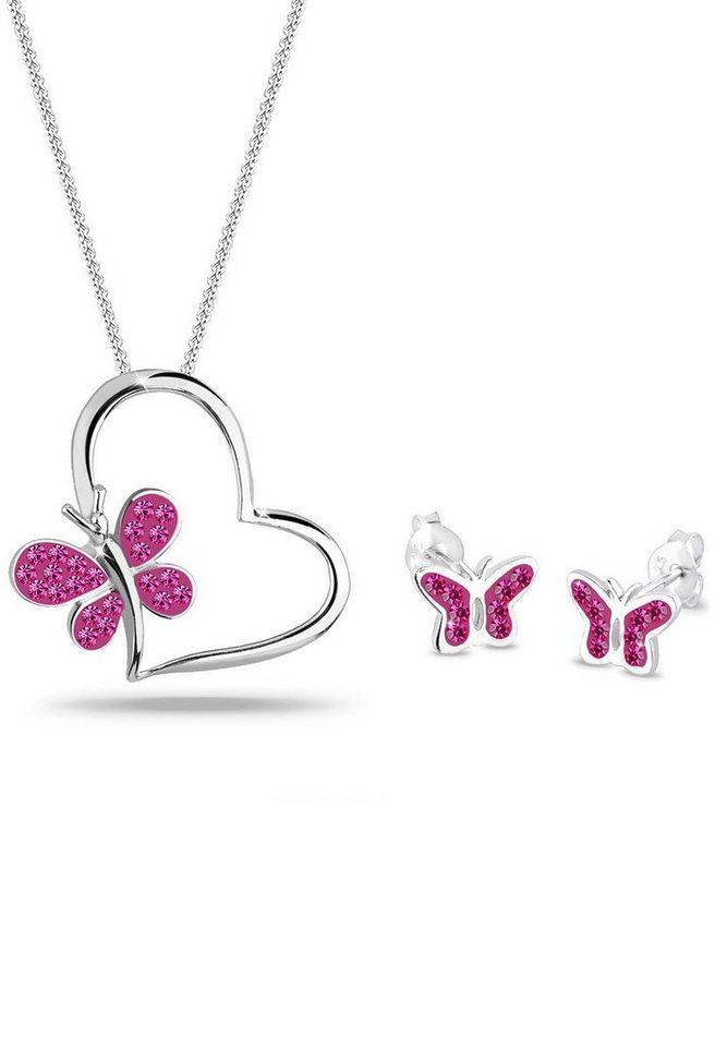 Elli Set: Schmuckset »Schmetterling Swarovski® Kristalle 925 Silber« 2 tlg. in Pink