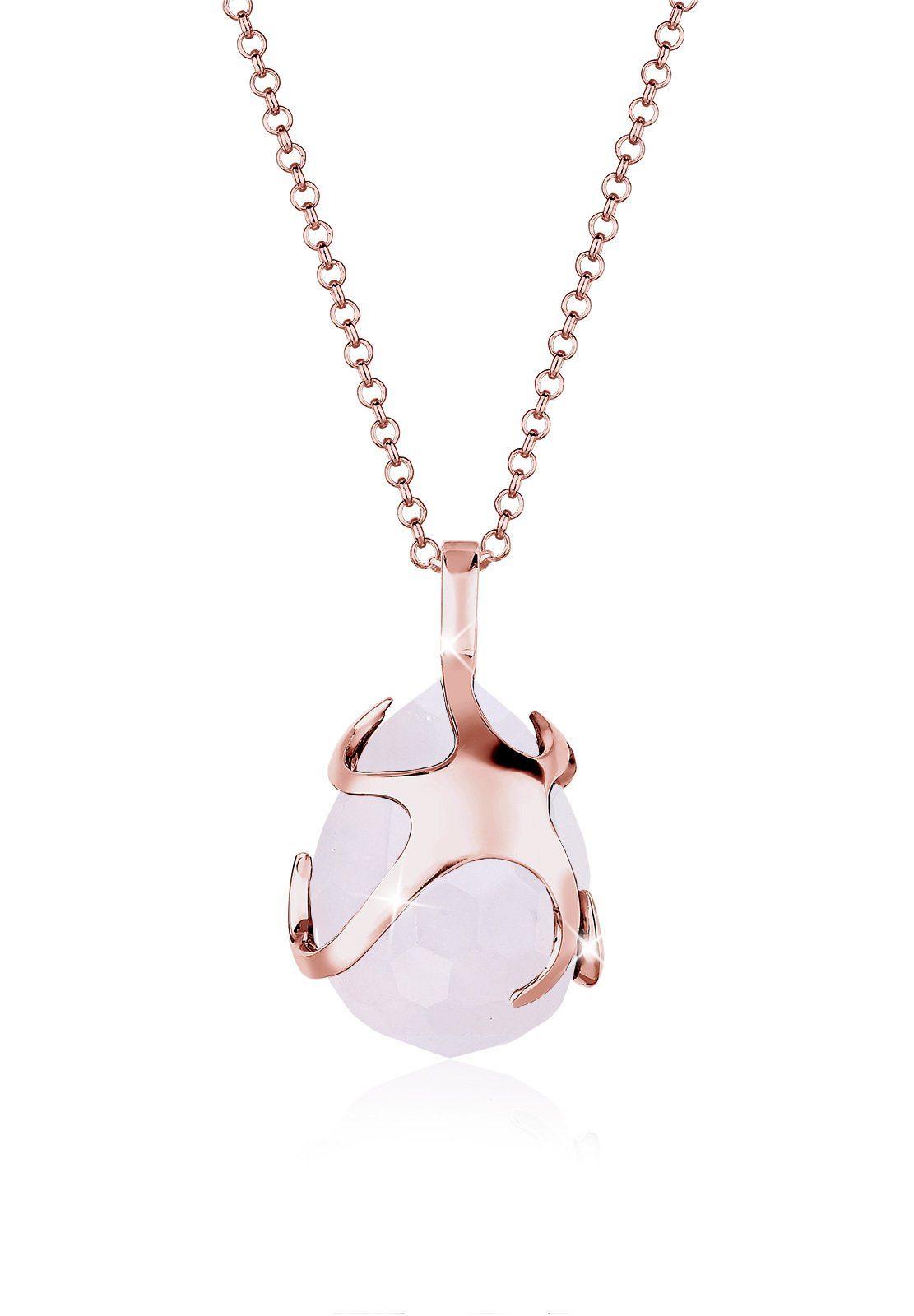 Elli Halskette »Tropfen Rosenquarz 925 Silber Roségold«
