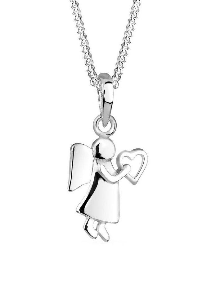 Elli Halskette »Engel Herz 925 Sterling Silber« in Silber