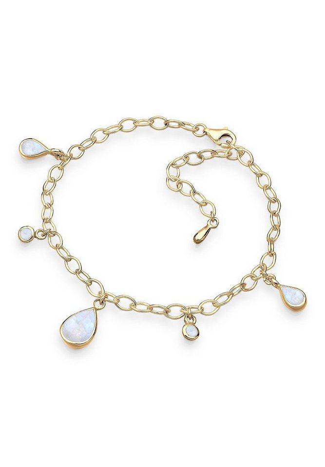 Goldhimmel Armband »Bettelarmband Mondstein 925 Silber vergoldet« in Weiß