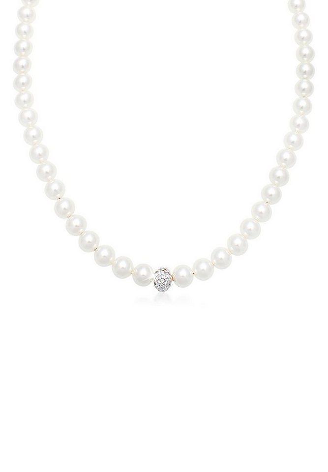 Elli Halskette »Perlenkette Swarovski® Kristalle Sterling Silber« in Weiß