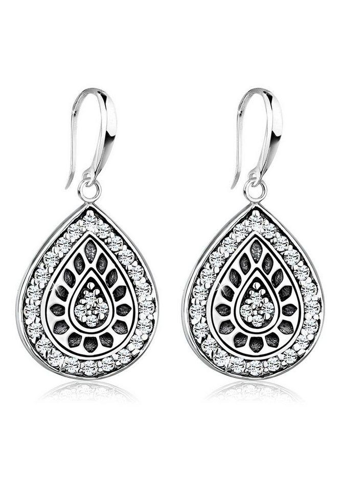 Elli Ohrringe »Tropfen Swarovski® Kristalle Vintage 925 Silber« in Weiß
