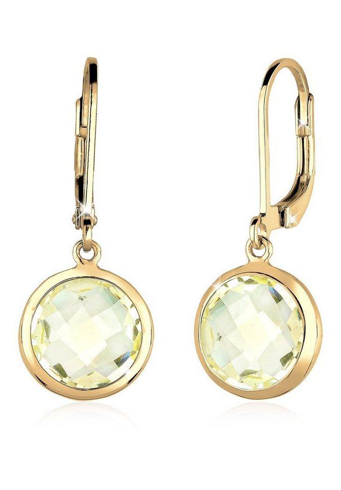 Goldhimmel Ohrringe »Quarz Basic Stilvoll Elegant 925 Silber vergoldet« in Gelb
