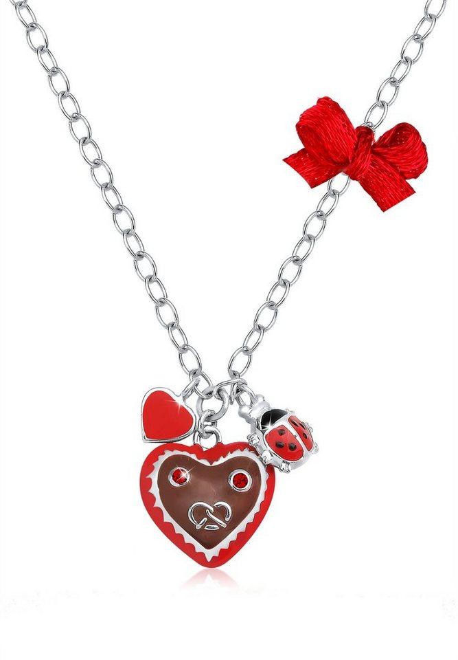 Elli Halskette »Herz Marienkäfer Swarovski® Kristalle 925 Sterling« in Rot