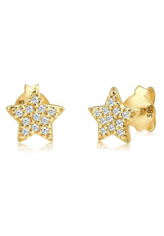 Diamore Ohrringe »585 Gelbgold Sterne Diamant« in Weiß