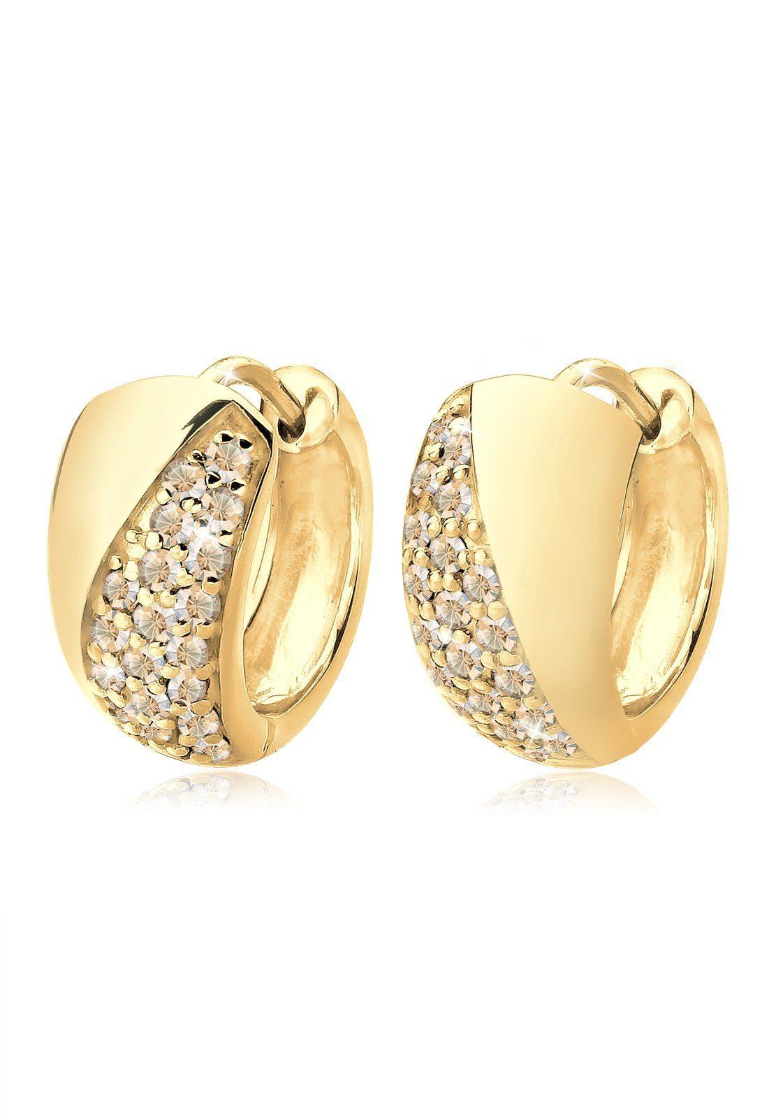 Goldhimmel Ohrringe »Creolen Swarovski Kristalle 925 Silber vergoldet«