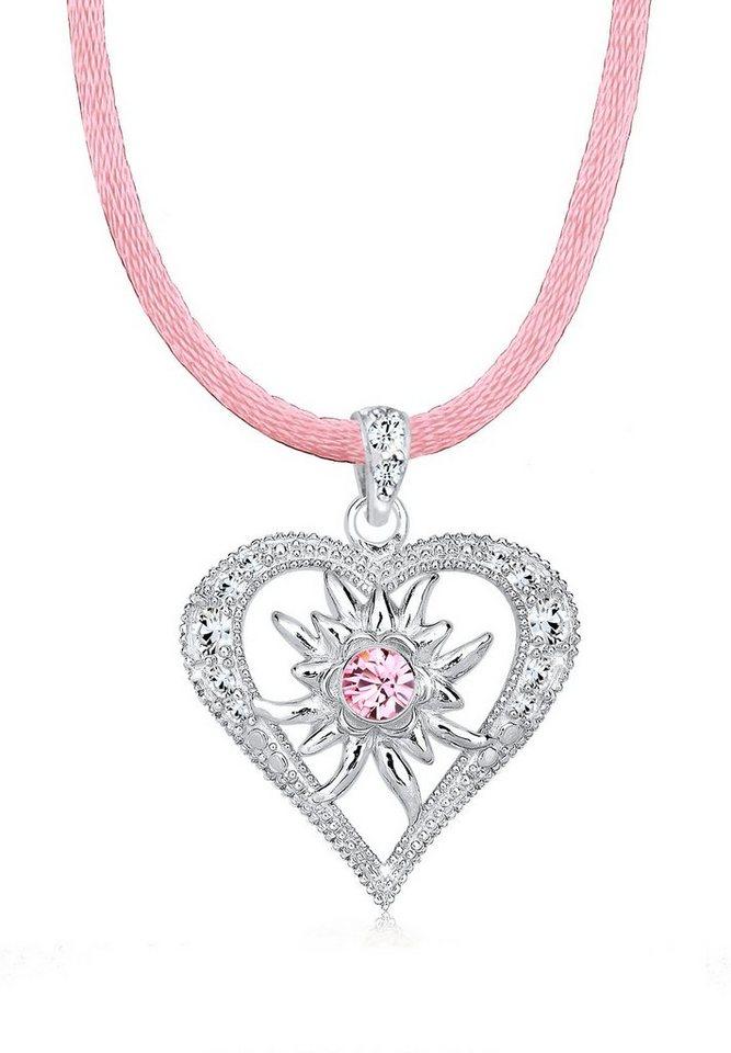 Elli Halskette »Herz Wiesn Swarovski® Kristalle 925 Sterling Silbe« in Rosa