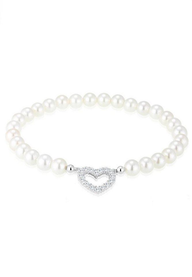 Elli Armband »Herz Zirkonia Muschelkernperle 925 Sterling Silber« in Weiß