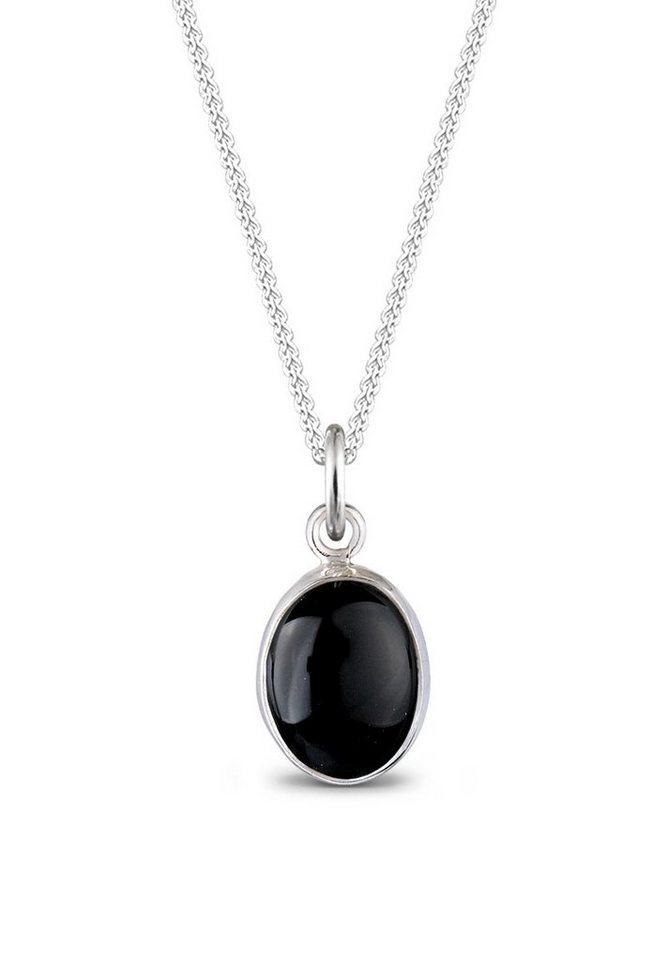 Elli Halskette »Edelstein Onyx schwarz 925 Sterling Silber« in Schwarz