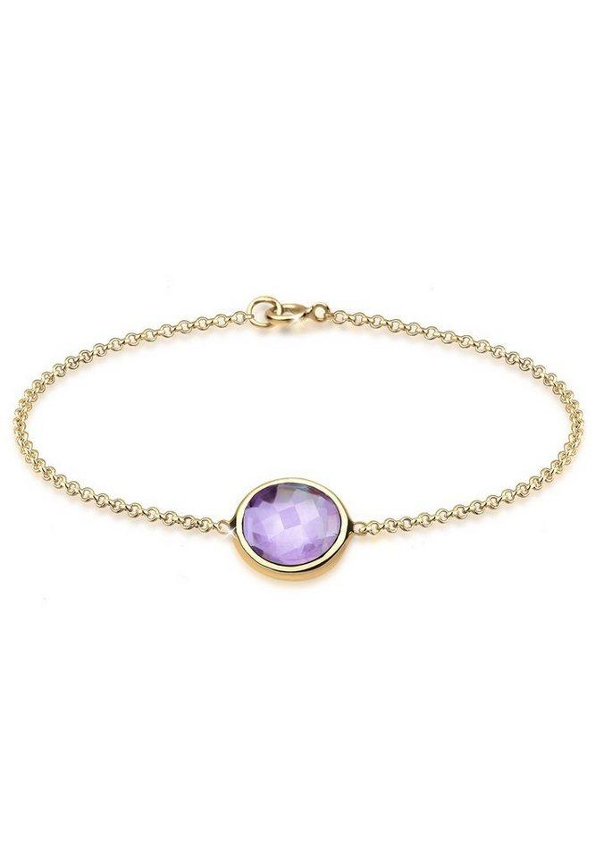 Elli Armband »Amethyst 925 Sterling Silber vergoldet« in Violett