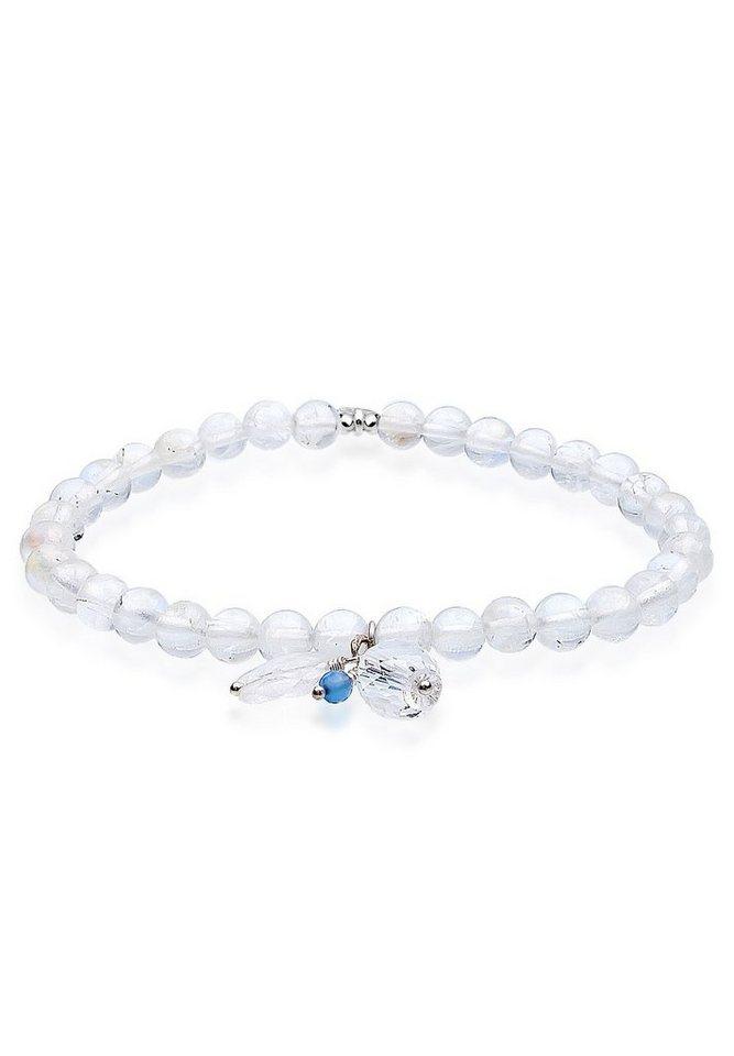 Elli Armband »Om Achat Mondstein Bergkristall 925 Sterling Silbe« in Weiß
