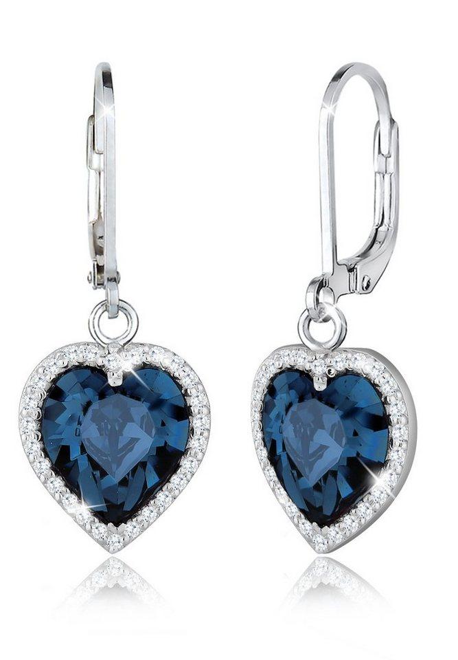 Elli Ohrringe »Herz Swarovski® Kristalle Zirkonia Liebe Silber« in Blau