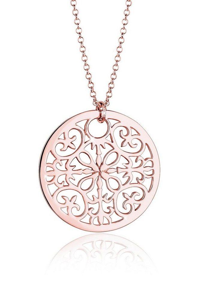 Elli Halskette »925 Sterling Silber Münze Ornament« in Rosegold