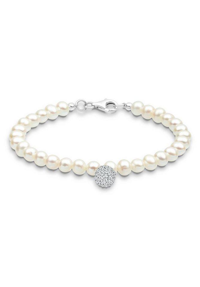 Perlu Armband »Perle Schneeflocke Swarovski® Kristalle 925 Silber« in Weiß