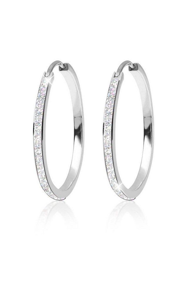 Elli Ohrringe »Creolen Emaille Basic Filigran 925 Silber« in Silber
