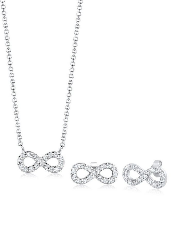 Elli Set: Schmuckset »Infinity For Ever Zirkonia 925 Sterling Silber« 2 tlg. in Weiß