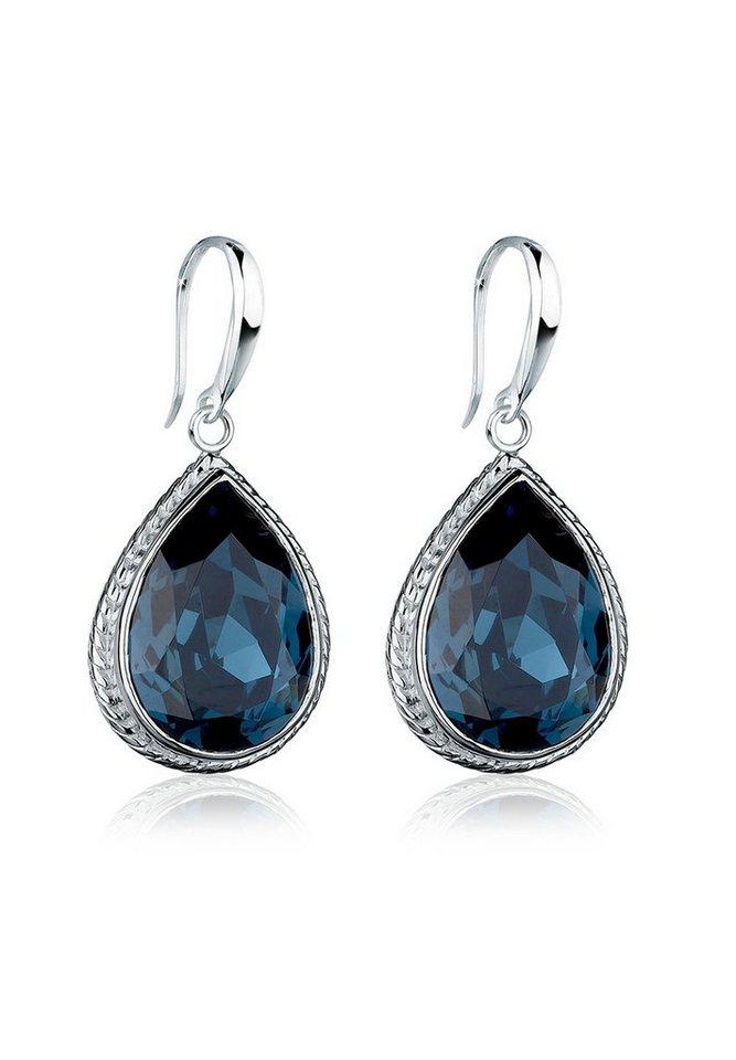 Elli Ohrringe »925 Sterling Silber Tropfen Swarovski Kristall« in Blau