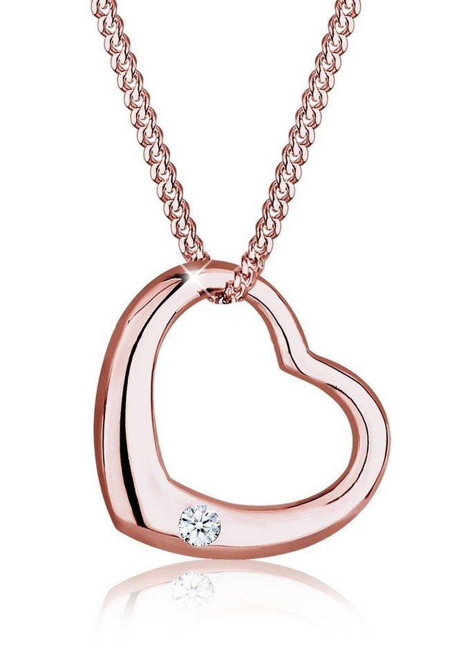 Diamore Halskette »Herz Filigran Diamant 925 Sterling Silber« in Rosegold