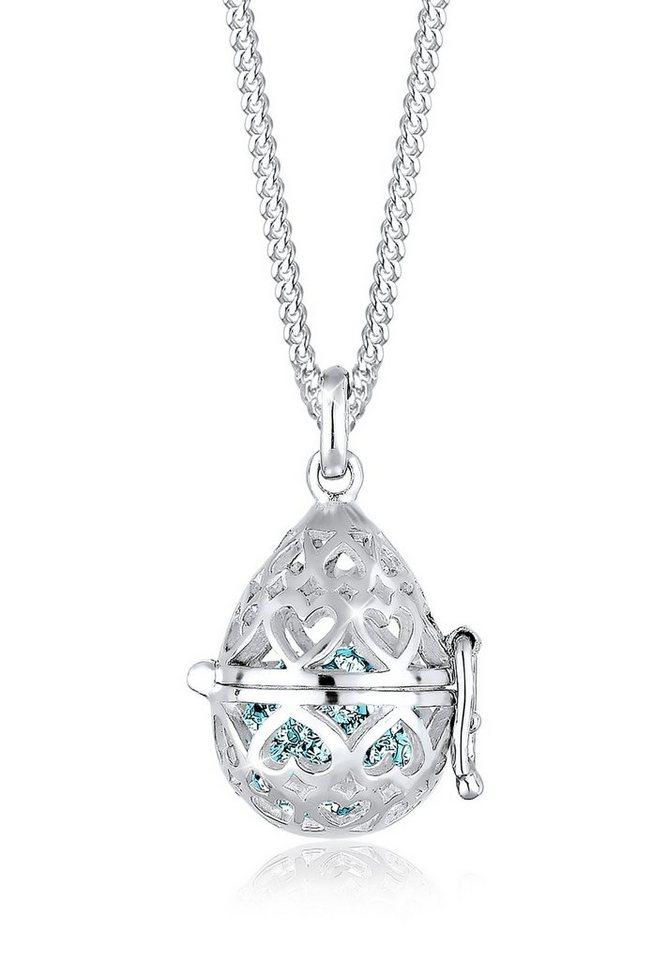 Elli Halskette »Medallion Herz Swarovski® Kristalle 925 Silber« in Hellblau