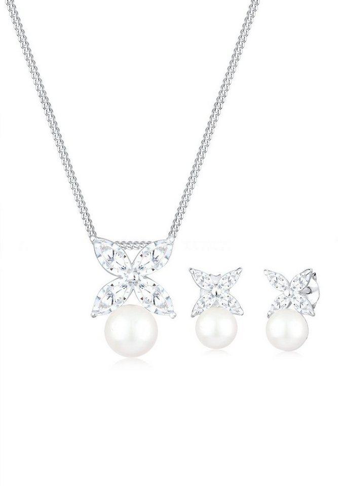 Perlu Set: Schmuckset »Blume Perle Zirkonia 925 Silber« 2 tlg. in Weiß