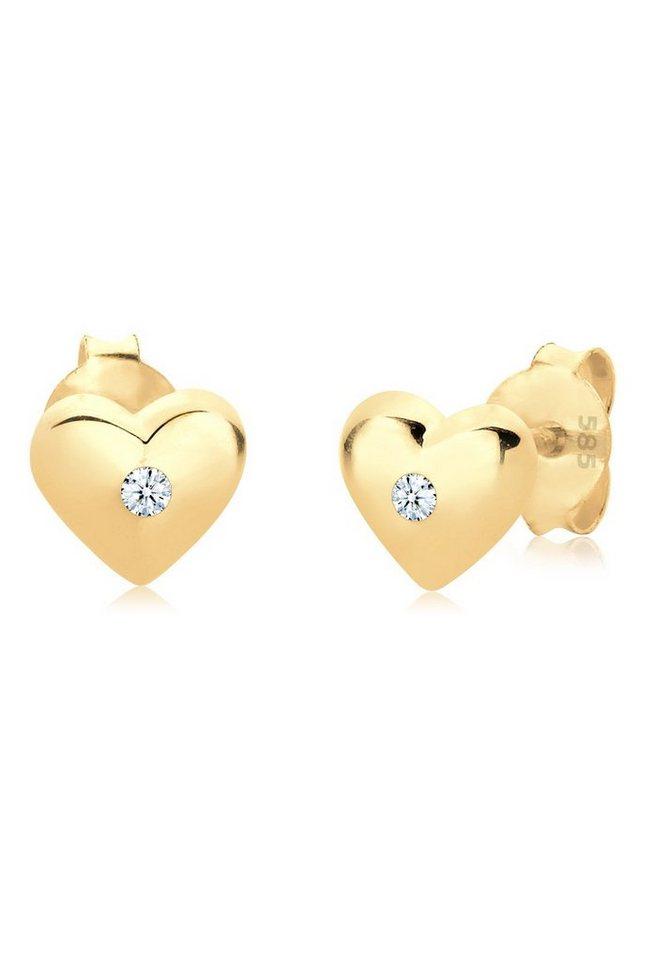 Diamore Ohrringe »585 Gelbgold Herz Diamant« in Weiß